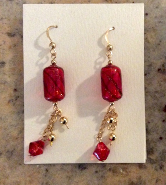 Hand Blown Glass Beads and Gold Filled Earrings