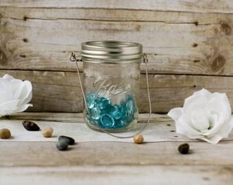 Mason Jar Lantern with Blue Gems and Candle - Patio Lantern - Garden Light - Wedding Decor - Hanging Lantern - Outdoor Lighting