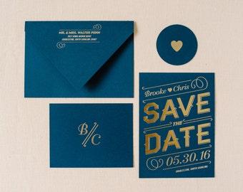 Gold Foil Save The Date Modern  - Letterpress Hot Foil Stamped