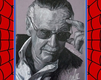 Stan Lee Autographed Charcoal Drawing