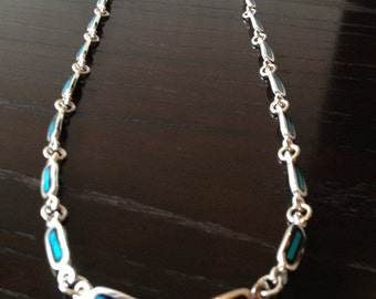 Thick 925 Sterling Silver chain with turquoise mosaic.