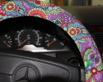 Purple Floral Steering Wheel Cover . Girls Wheel Cover . Car Accessories .