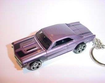 3D 1967 Chevrolet Chevelle custom keychain by Brian Thornton keyring key chain finished in purple color trim 67