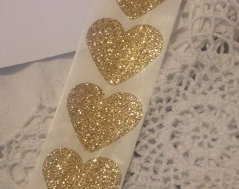 Heart Seals - Large Sparkly Glamour Gold Glitter Heart Envelope Seals For Wedding And Events - Sweet Love stickers x 25