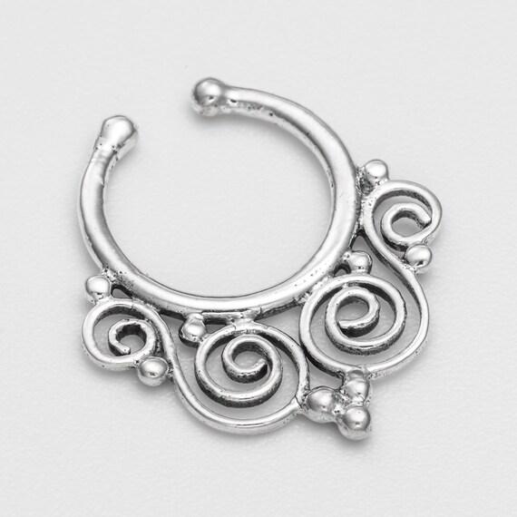 Fake oxidized silver Septum Ring.