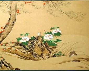 Japanese antique woodblock print, Kano Sanraku, Large size.