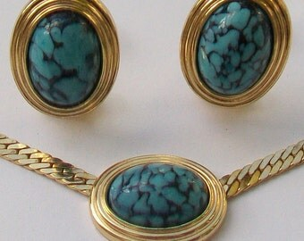 CHRISTIAN DIOR GERMANY Demi Parure Turquoise Cabochons Clip On Earrings & Necklace Set