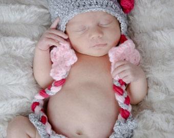 Crochet Flower hat, baby girl hat, newborn earflap hat