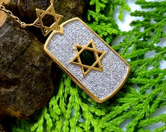 Gold Star of David CZ Pendant .925 Silver Necklace