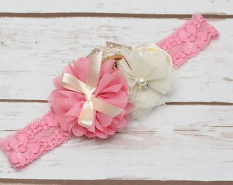 Rose pink and gold headband, photography prop,ivory pink and gold headband ,newborn headband , baby headband ,pink and gold headband