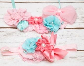 Pink and aqua headband, pink headband, aqua headband, aqua and pink birthday headband, smash cake headband