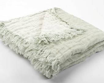 Linen blanket, linen bedspread, throw blanket, custom blankets, best blankets, mint white blanket, sofa throw, bed throws, bed blankets