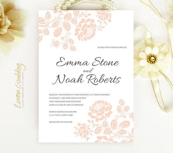 Cheap Wedding Invitations Rose Wedding By LemonWedding On Etsy