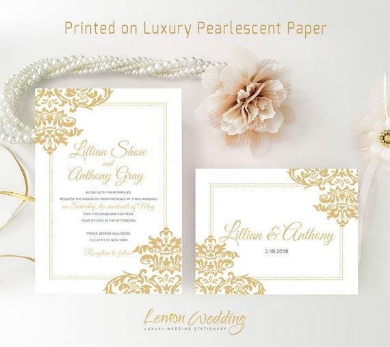 Cheap Wedding Invitation Kits Printed Gold Wedding
