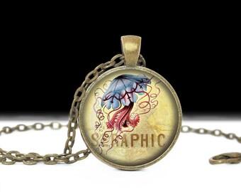 Jellyfish Jewelry Jellyfish Necklace Nautical Keychain Jellyfish Keychain