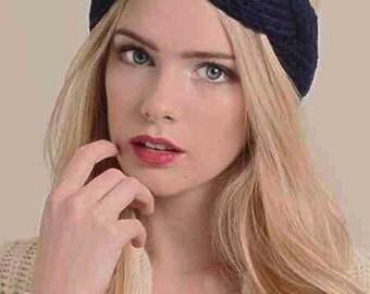 Navy Blue Braided Crochet Headband