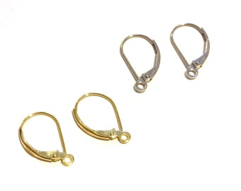14K Solid Yellow/White Gold Leverback Earrings