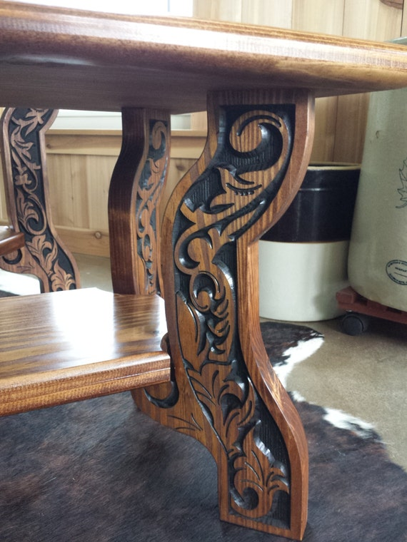 Western Style Coffee And End Tables Carved Wood By Joswoodgallery