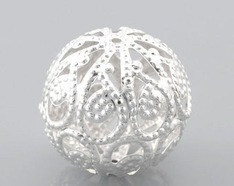 """30PCs Silver Plated Hollow Ball Beads 20mm(6/8"""")"""
