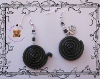 Earrings licorice rolled gourmet fimo