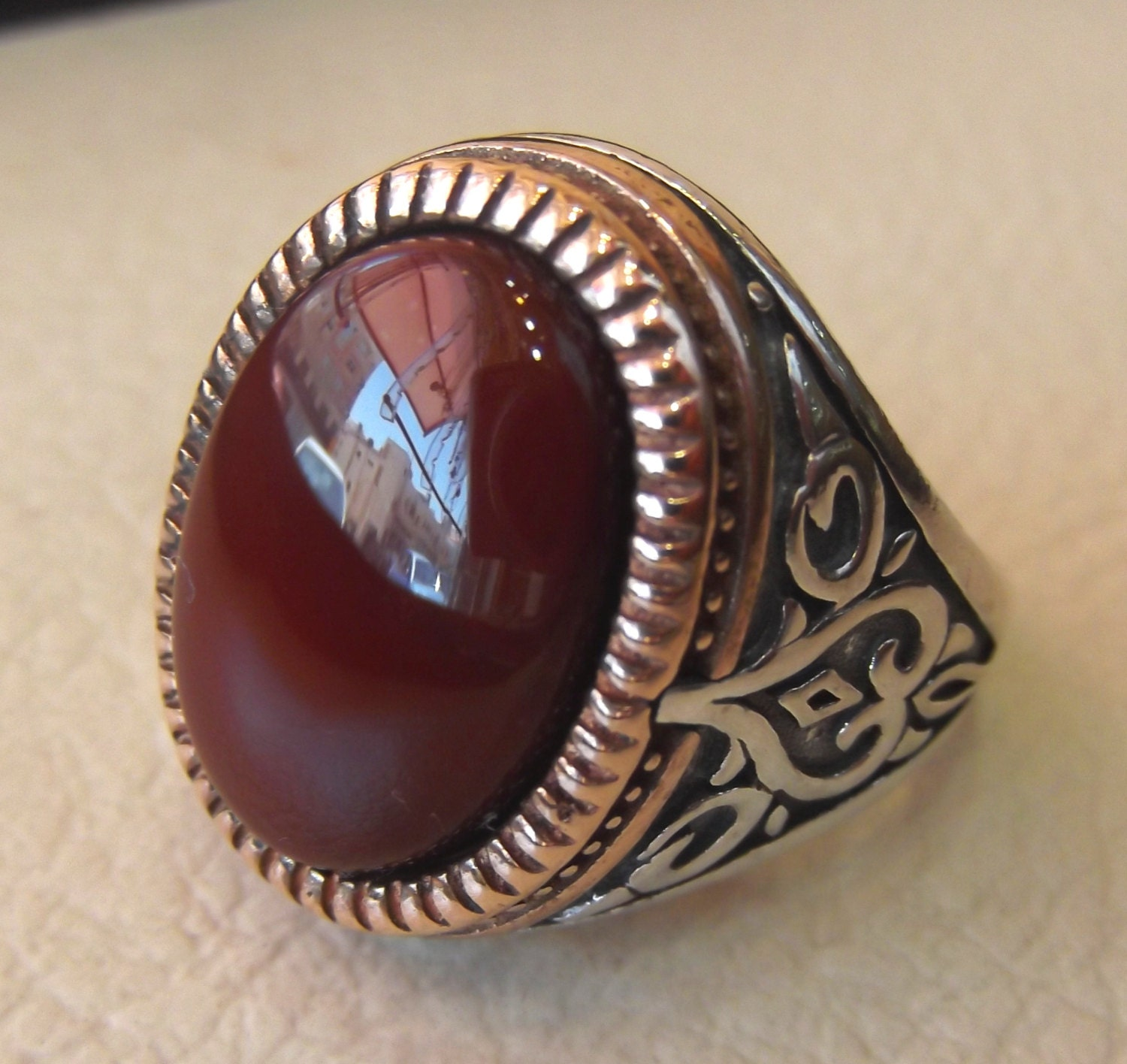 Red Bronze Stone : Agate carnelian natural stone red yemen aqeeq sterling silver