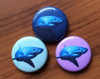 "Great White Shark 1"" Pinback Button. Multiple color choices."