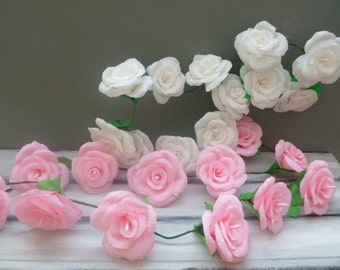 Wedding Arch Garland,Paper Flower Garland,Pink,White, Blue and Yellow,Pink and Cyclamen Roses Garland,Party Decoration