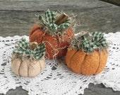 Primitive Pumpkins, Stuffed Pumpkins, Rustic Pumpkins, Country Pumpkins, Fabric Pumpkins, Fall Decoration, Pumpkin Ornament, Fall Ornament