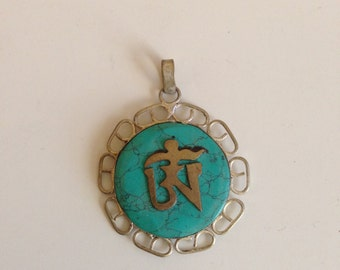 Beautiful Tibetan OM Pendant, turquoise pendant, bohemian jewelry, boho pendant, tribal, gypsy jewelry