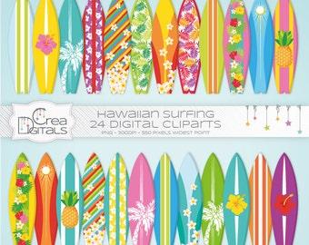 Hawaiian Summer Surfboards 24 cliparts - INSTANT DOWNLOAD