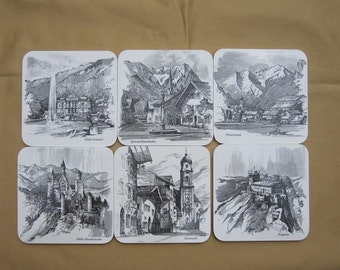 Set of Six Vintage Ricolor Melamin Coasters with Black & White Scenes of Germany