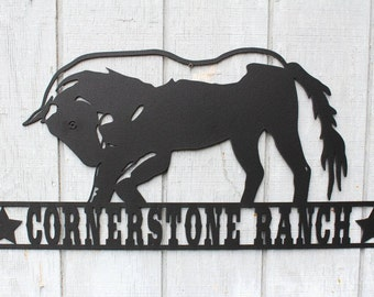 Personalized Ranch Horse Sign, House Sign, Address Sign, Farm Sign, Metal Sign
