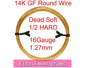 "16 Gauge .050"" 1.27mm Dead Soft / Half Hard Round Wire 14K Yellow Gold Filled Wholesale BULK DIY Jewelry Findings 1/20 14kt GF"
