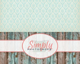 Vinyl Backdrop, Teal Damask With Teal Grunge Wood ALL IN ONE vinyl Photography Backdrop