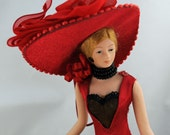 Victorian Lady Bisque Half Doll, Dressed in Red With Black Lace, Great Piece for A Craft or Sewing Room # 133 ok