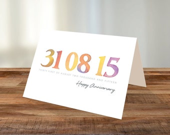 Personalised Watercolour Date A5 Card - Birthday, Anniversary, Engagement, Wedding. Orange
