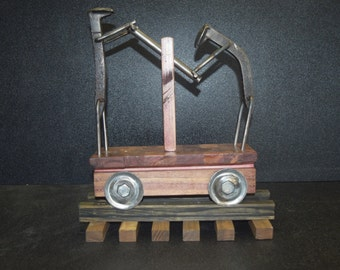 Handmade Wooden Railroad Car with Rail Spike People