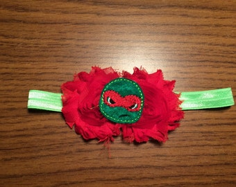 TMNT headband, Raphael turtle hair bow headband, Raphael headband, red turtle hair accessorie, shabby rosettes