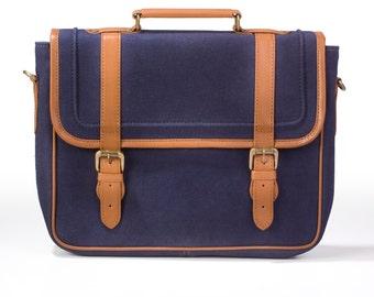 "Laptop Bag , Laptop Briefcase 13""macbook case , Indigo Canvas , Leather Laptop bag"