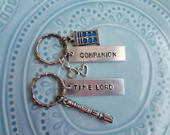 Dr. Doctor Who Time Lord Companion Key Chain Whovian Handstamped Two Hearts Tardis Police Box Sonic Screwdriver