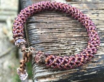 Antique spiral bracelet-Burgundy and dusty rose