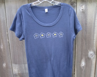 Women's Whimsical Flowers Scoop Neck T-Shirt