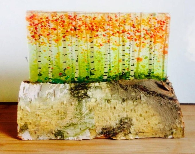 Freestanding  fused glass silver birch trees panel