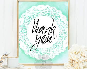 Thank you printable art wall art home decor nursery art digital print typographic print art quote art typographic quote art print thank you