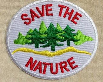 White Save The Nature Iron On Embroidery Patch