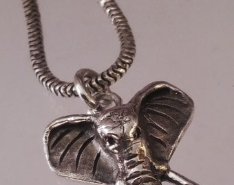 Solid sterling silver elephant headd - handcrafted