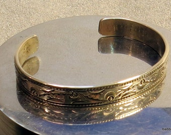 One of a Kind, Stamped sterling silver cuff bracelet