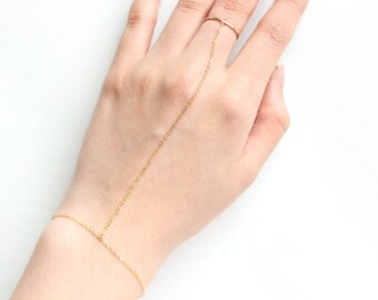 14k Gold Filled Classic Slave Bracelet with Ring