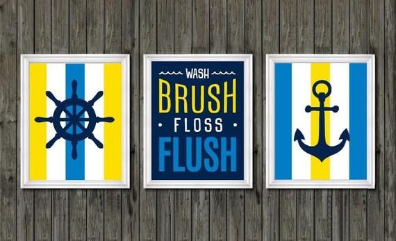 Nautical bathroom decor yellow and blue bathroom boys for Yellow and blue bathroom accessories