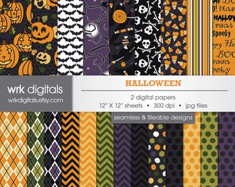 Halloween Seamless Digital Paper Pack, Digital Scrapbooking, Instant Download